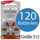 120 x Rayovac Extra Advanced H312MF